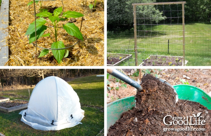 collage image of mulch, trellis, compost, and dome