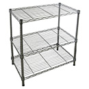 image of a black wire shelving unit