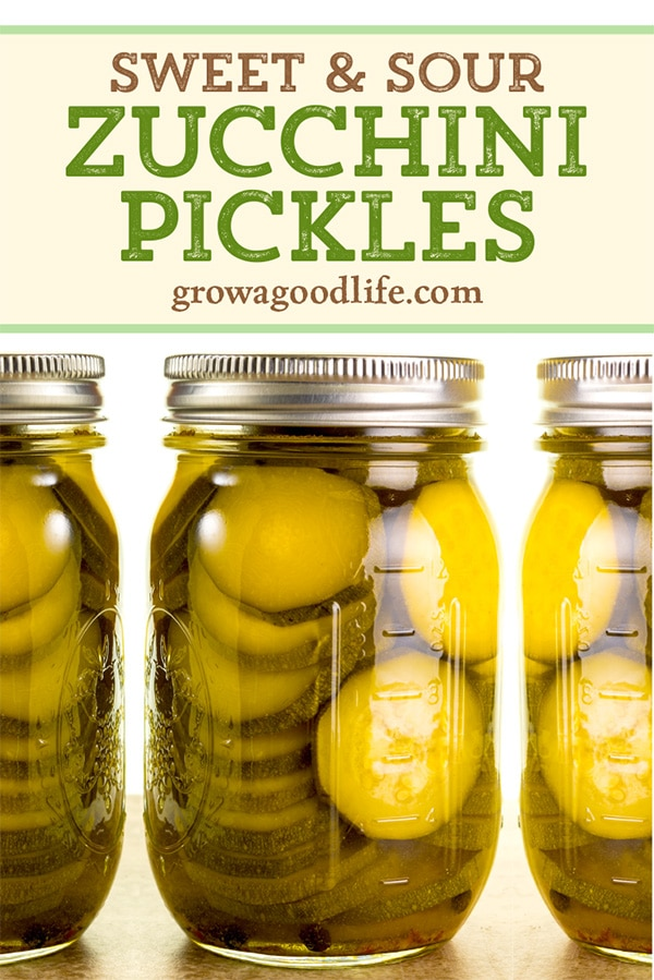 Pickle that big harvest of zucchini from your vegetable garden with this easy sweet and sour zucchini pickles canning recipe. These sweet and sour zucchini pickles are perfect on hamburgers and sandwiches, but also great snacked right out of the jar. Click through for the full recipe to make and can zucchini pickles.