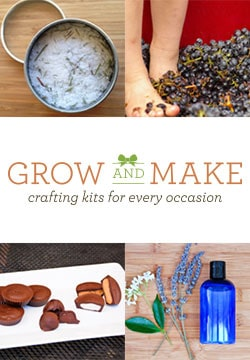 Even novice DIYers can craft some great natural handmade beauty products with kits from Grow and Make. Each kit contains ingredients, instructions, and containers to make your own homemade products.