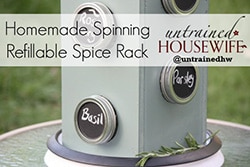 DIY Mason Jar Spinning Spice Rack - Untrained Housewife