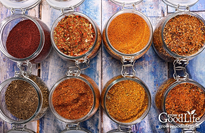 over head image of herbs and spices in jars