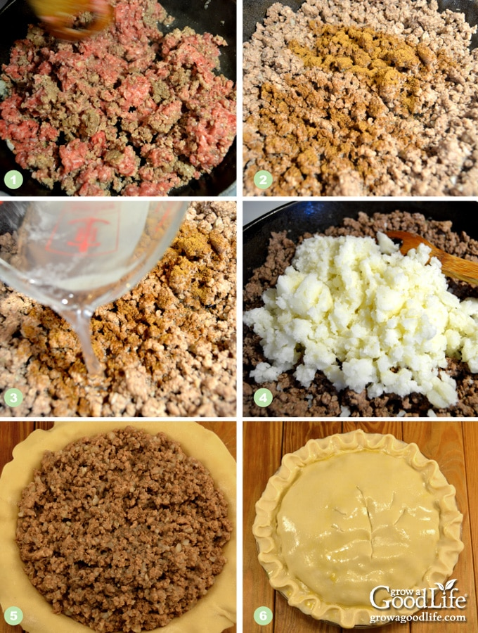 Steps for making tourtiere