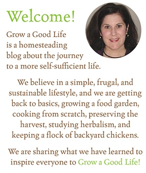 Grow a Good Life is a homesteading blog about the journey to a more self-sufficient life. We believe in a simple, frugal, and sustainable lifestyle, and we are getting back to basics, growing a food garden, cooking from scratch, preserving the harvest, studying herbalism, and keeping a small flock of backyard chickens. We are sharing what we have learned to inspire everyone to Grow a Good Life.