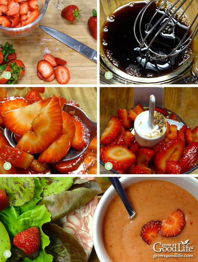 photos showing the steps to making strawberry vinaigrette