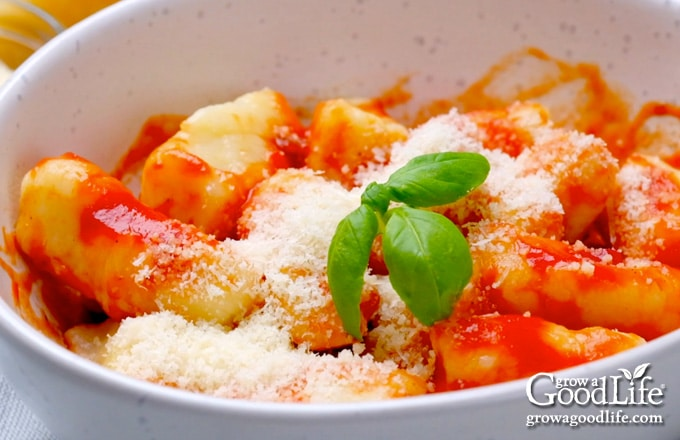 bowl of Italian ricotta gnocchi and tomato sauce on a table