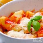 closeup of a bowl of ricotta gnocchi