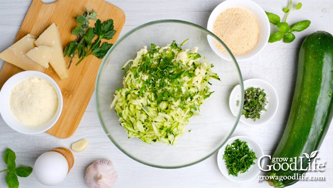 ingredients for zucchini garlic bites