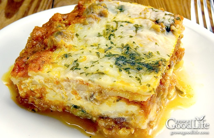 This delicious garden fresh zucchini lasagna is made with thin slices of zucchini instead of pasta noodles. It is a gluten-free alternative with all the flavor of the traditional version. Also freezer friendly for make ahead meals.