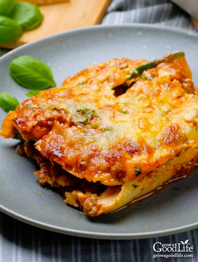 image of a piece of zucchini lasagna plated