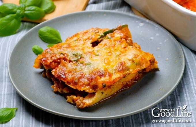 zucchini lasagna served