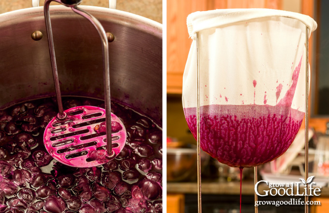 mashing grapes and straining juice from fruit