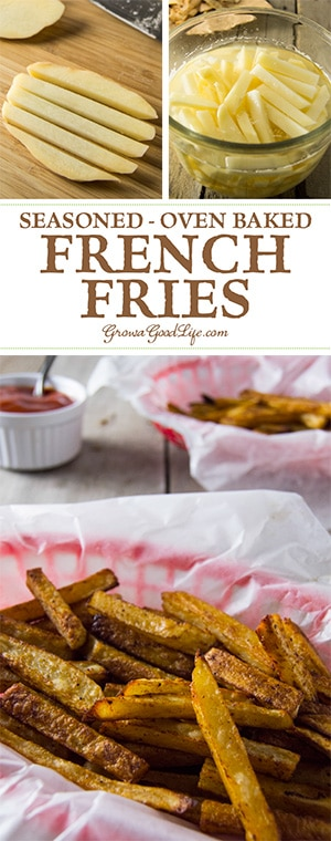 Yes, you can make crispy seasoned baked French fries at home without deep-frying in vegetable oil. Skip the drive thru and precooked frozen packages with chemicals, preservatives, and unhealthy oils. Try making your own hand cut homemade baked fries instead.