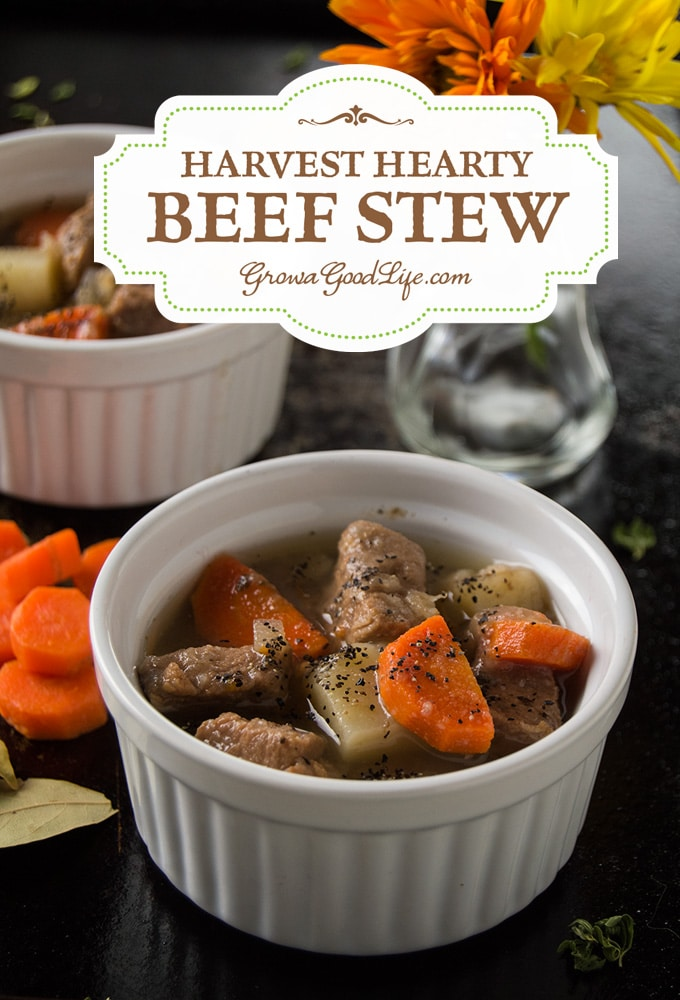 "Is there anything that screams comfort food more than your classic beef stew? I call this ""Harvest Hearty Beef Stew"" because it is filled with vegetables and herbs harvested from our garden. This recipe takes advantage of slow cooking in a crockpot allowing the flavors to infuse and the beef to transform to a tender, melt in your mouth morsel."