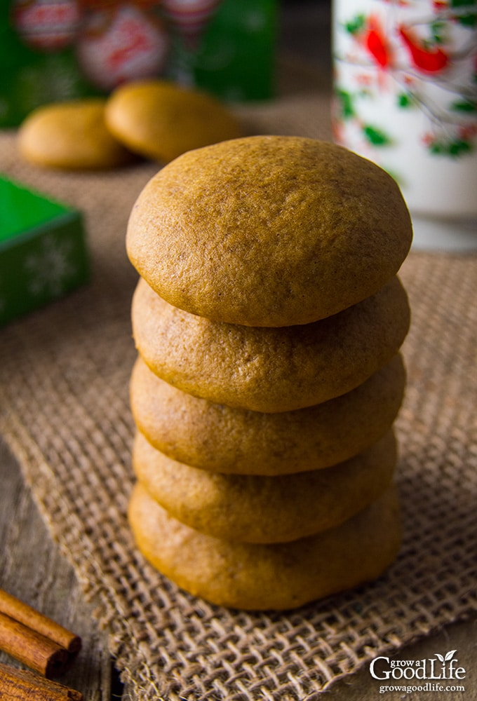 These soft molasses cookies are filled with the warm holiday flavors of cinnamon, cloves, nutmeg, and molasses. They are delicious with a glass of milk or coffee.