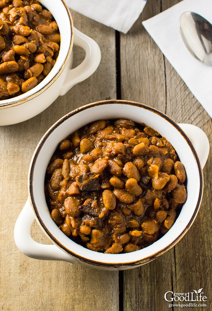 Skip the can and simmer your own homemade New England baked beans in your crock pot or slow cooker.