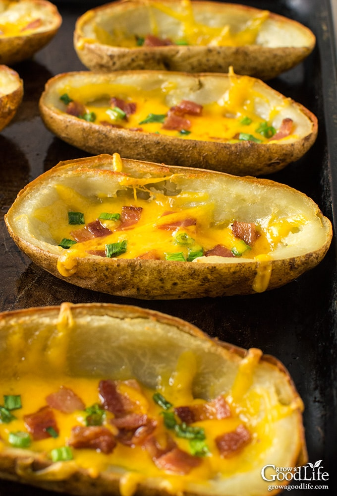 Potatoes, bacon, and cheddar cheese are a delicious combination! Enjoy these potato skins as an appetizer, snack, or side dish.