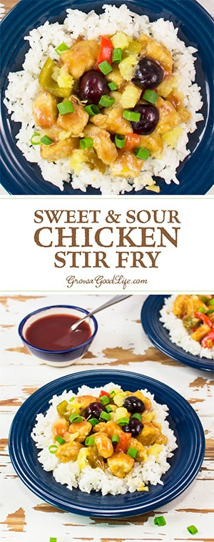 Skip the take-out and make this Sweet and Sour Chicken Stir Fry recipe using fresh cherries, pineapple, and vegetables. No thick breading and no deep-frying.