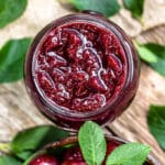 overhead photo of a jar of cherry jam