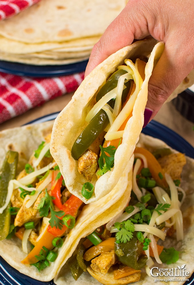 These chicken fajitas are made with strips of chili-lime seasoned chicken breast, tossed with vibrant peppers, onions, and wrapped in warm flour tortillas.