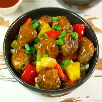 If you love sweet and sour sauce, you are going to love this orange and pineapple combination. It pairs well with the hardy flavor of ground beef meatballs seasoned with garlic, ginger, and Chinese five-spice powder.