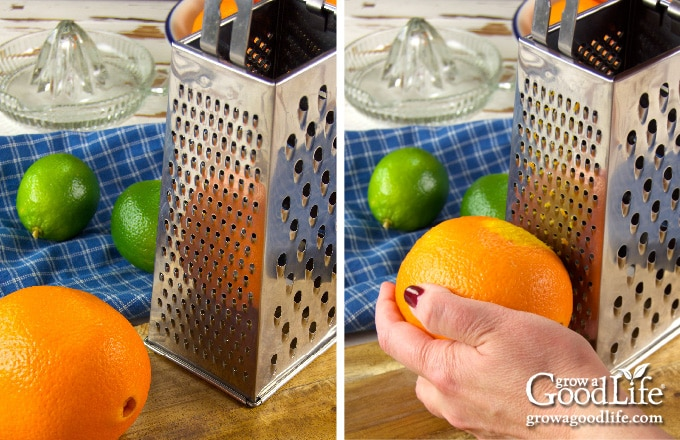 Showing the steps for zesting citrus fruit with a box grater
