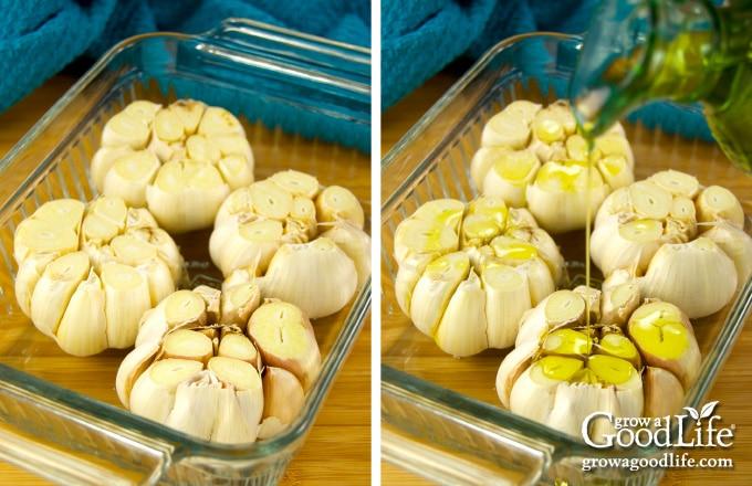 casserole dish with garlic