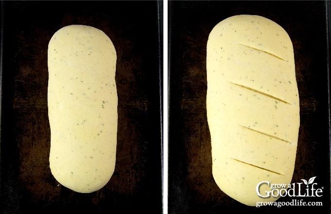 bread dough on baking sheet