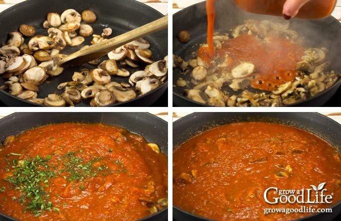 steps to making the mushroom marinara sauce