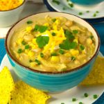 This is a super easy crockpot white bean chicken chili recipe that is filled with flavor. In this recipe, chicken is seasoned with Mexican spices, combined with white beans, onions, garlic, green chilies, and slow cooked all day. The flavors mingle into a delicious mild chili.