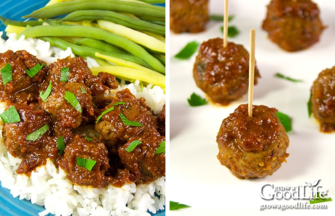showing meatballs plated over rice and threaded on toothpicks