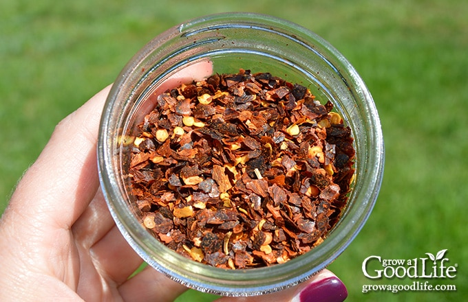 crushed red pepper flakes in a jar