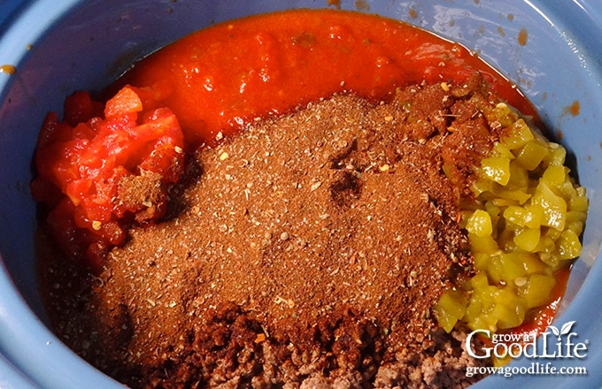 ingredients in the slow cooker crock