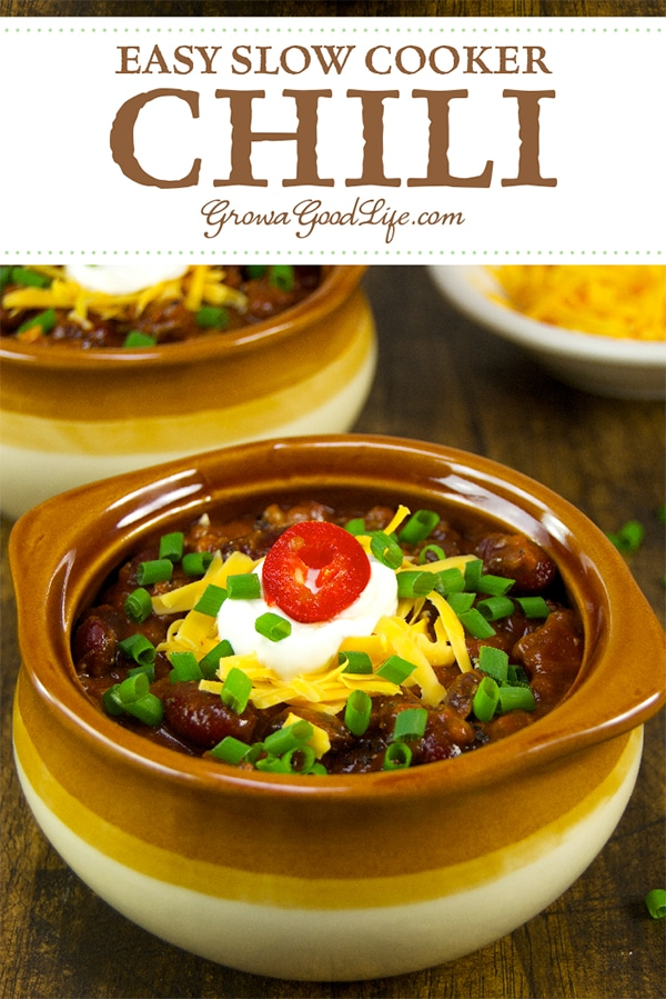 You can't go wrong with chili. Since the chili simmers in the slow cooker all day, it is perfect for a weeknight meal. It is also ideal for bringing to pot-luck meals, office parties, game day, and neighborhood barbecues.