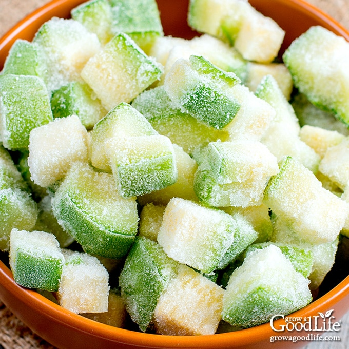 bowl of frozen zucchini pieces on a table