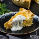 slice of salmon pie on a table