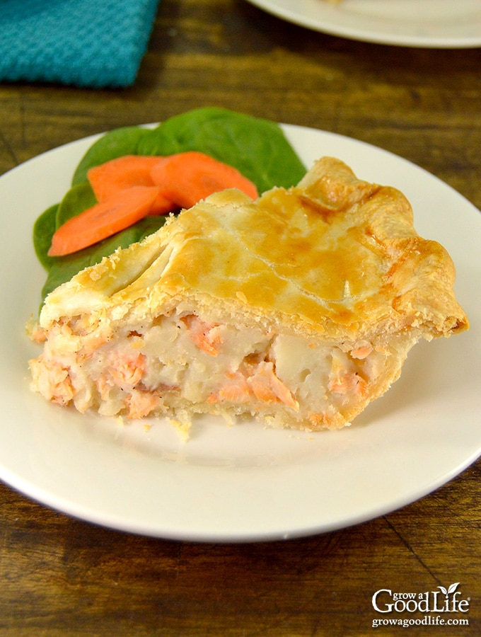 This recipe for salmon pie is a seaside version of the classic French-Canadian meat pie. It is often served right along with meat pie on Christmas Eve and New Years Eve.