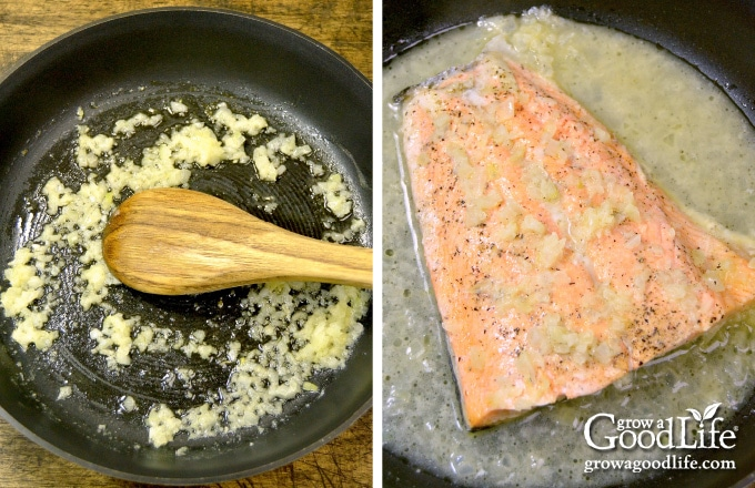 sautéing onions in a skillet and poaching salmon