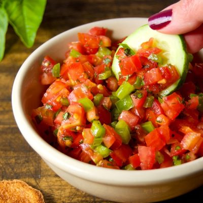 This Italian Salsa Cruda is a great way to enjoy ripe summer tomatoes, sweet bell peppers, and fresh Italian herbs. It is perfect for bruschetta, tossed with pasta, or spooned over grilled meat or fish.