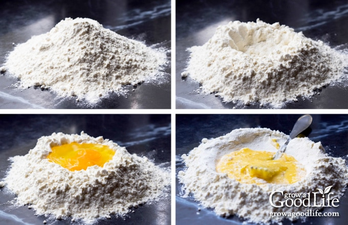 four images showing the process of making a well, adding ingredients, and mixing the dough