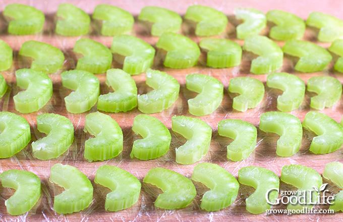 celery pieces spread out on parchment paper
