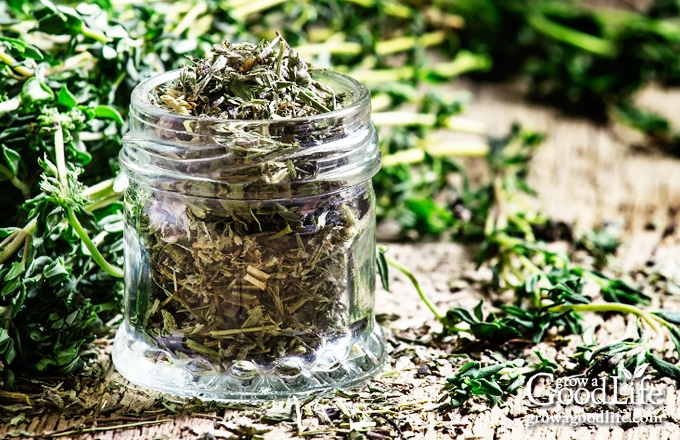 jar of dried thyme on a table
