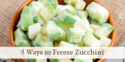 bowl of frozen diced zucchini on a table