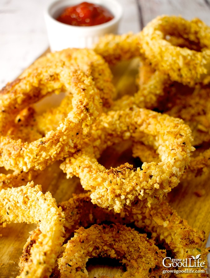closeup photo of a pile of baked onion rings on a table