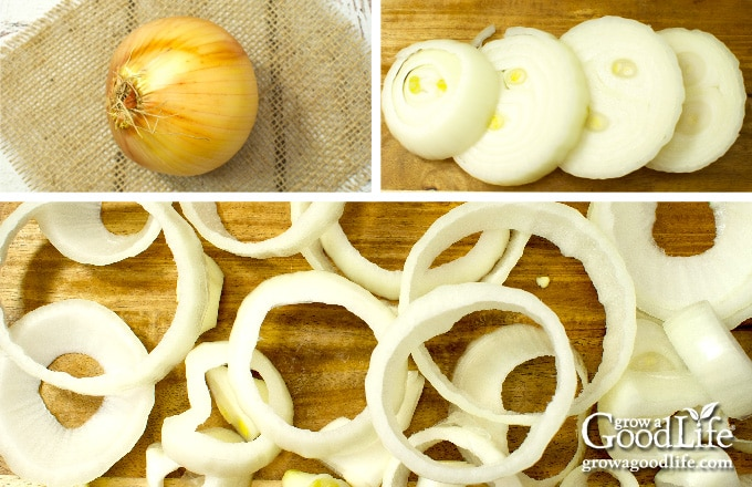 cutting a large onion into rings