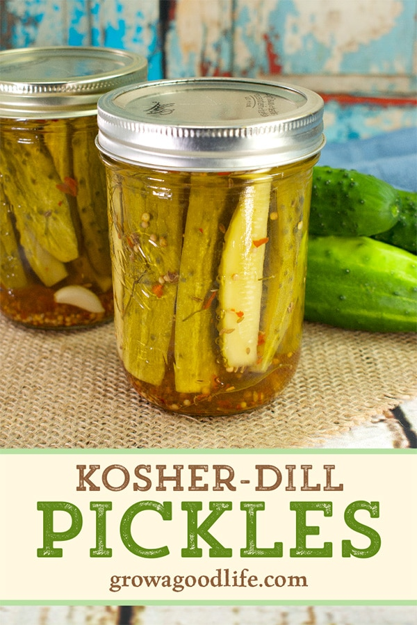 jar of dill pickles on a table