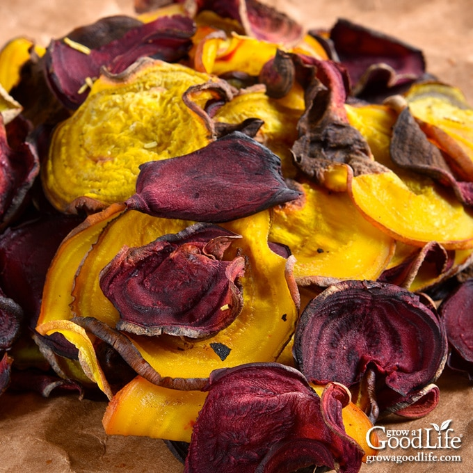 closeup of a pile of beet chips in parchment paoer