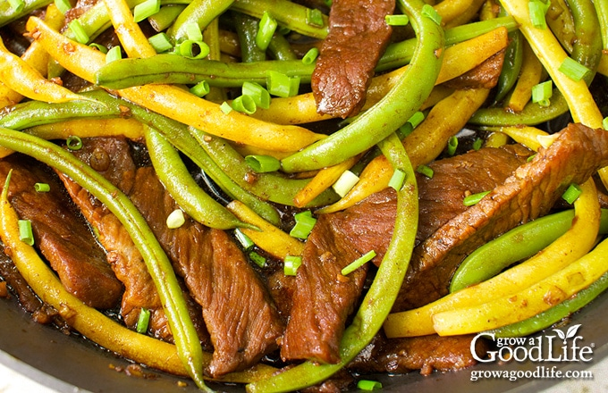 closeup of a skillet with beef and string bean stir-fry