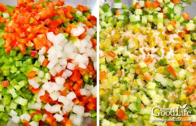 chopped vegetables for making relish
