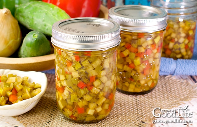 jars of vegetable relish on a table